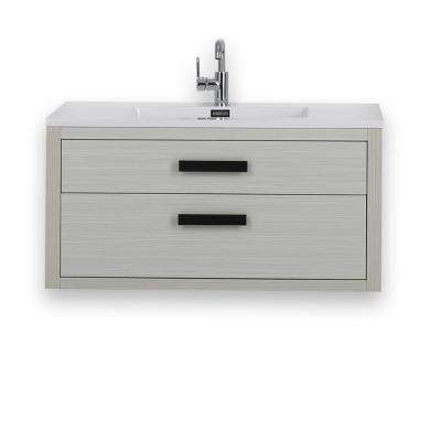39.4 in. W x 19.3 in. H Bath Vanity in Ash Gray with Resin Vanity Top in White with White Basin