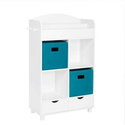 Kids White Cubby Storage Cabinet with Bookrack with 2-Piece Turquoise Bins