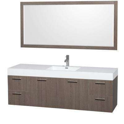 Amare 72 in. Vanity in Grey Oak with Acrylic-Resin Vanity Top in White, Integrated Sinks and 70 in. Mirror