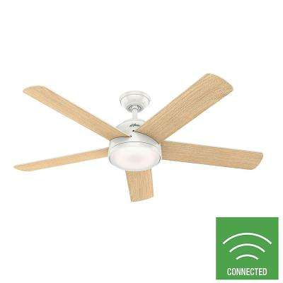 Romulus 54 in. Integrated LED Indoor Fresh White Smart Ceiling Fan with Light Kit and Remote Control