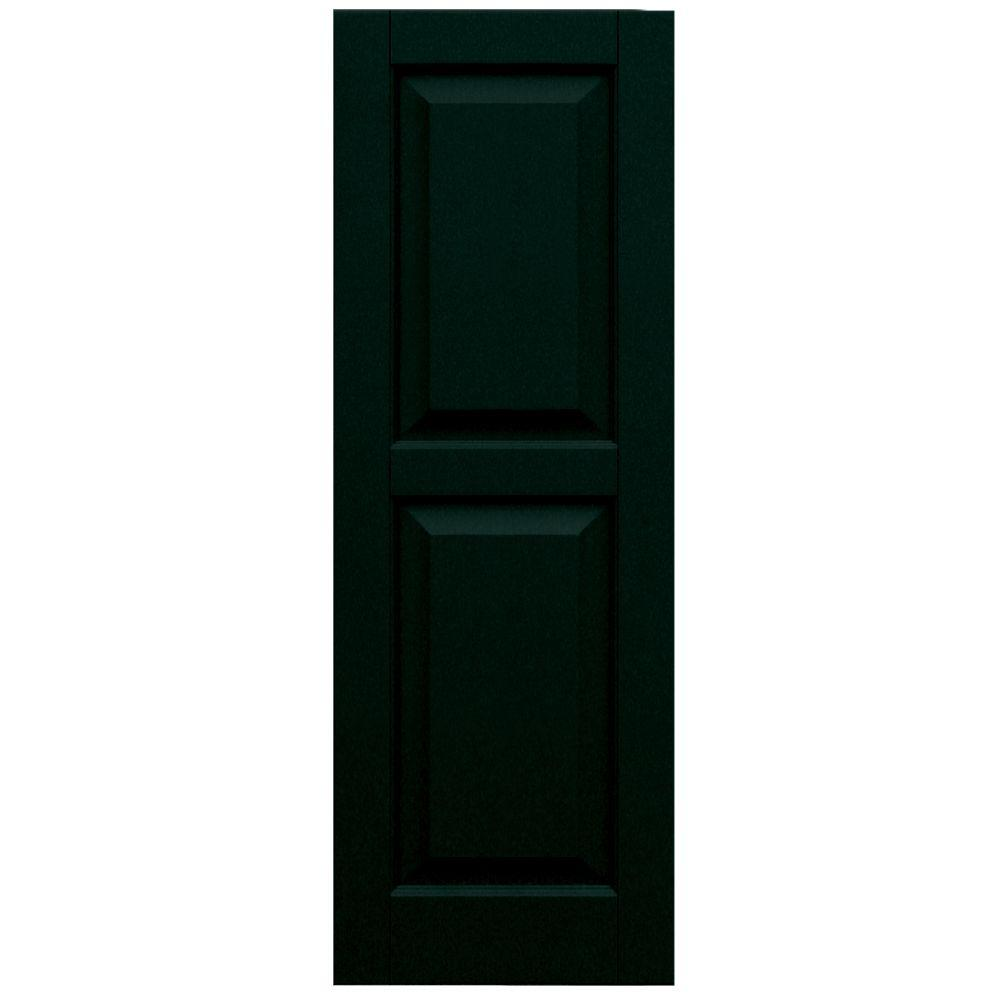 Winworks Wood Composite 15 in. x 43 in. Raised Panel Shutters Pair #654 Rookwood Shutter Green