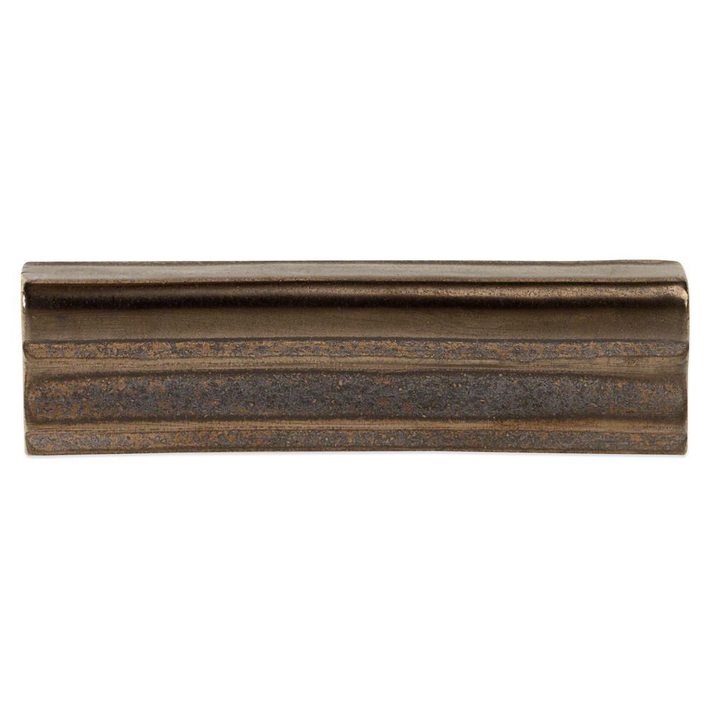 Delphi Metallic Copper 2 in. x 6 in. Polished Ceramic Chair Rail Tile Liner