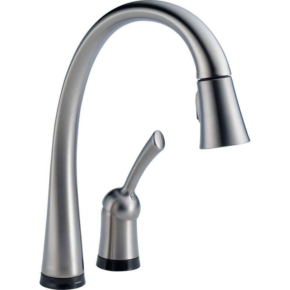 Delta Pilar Single-Handle Pull-Down Sprayer Kitchen Faucet with Touch2O Technology and MagnaTite Docking in Arctic Stainless