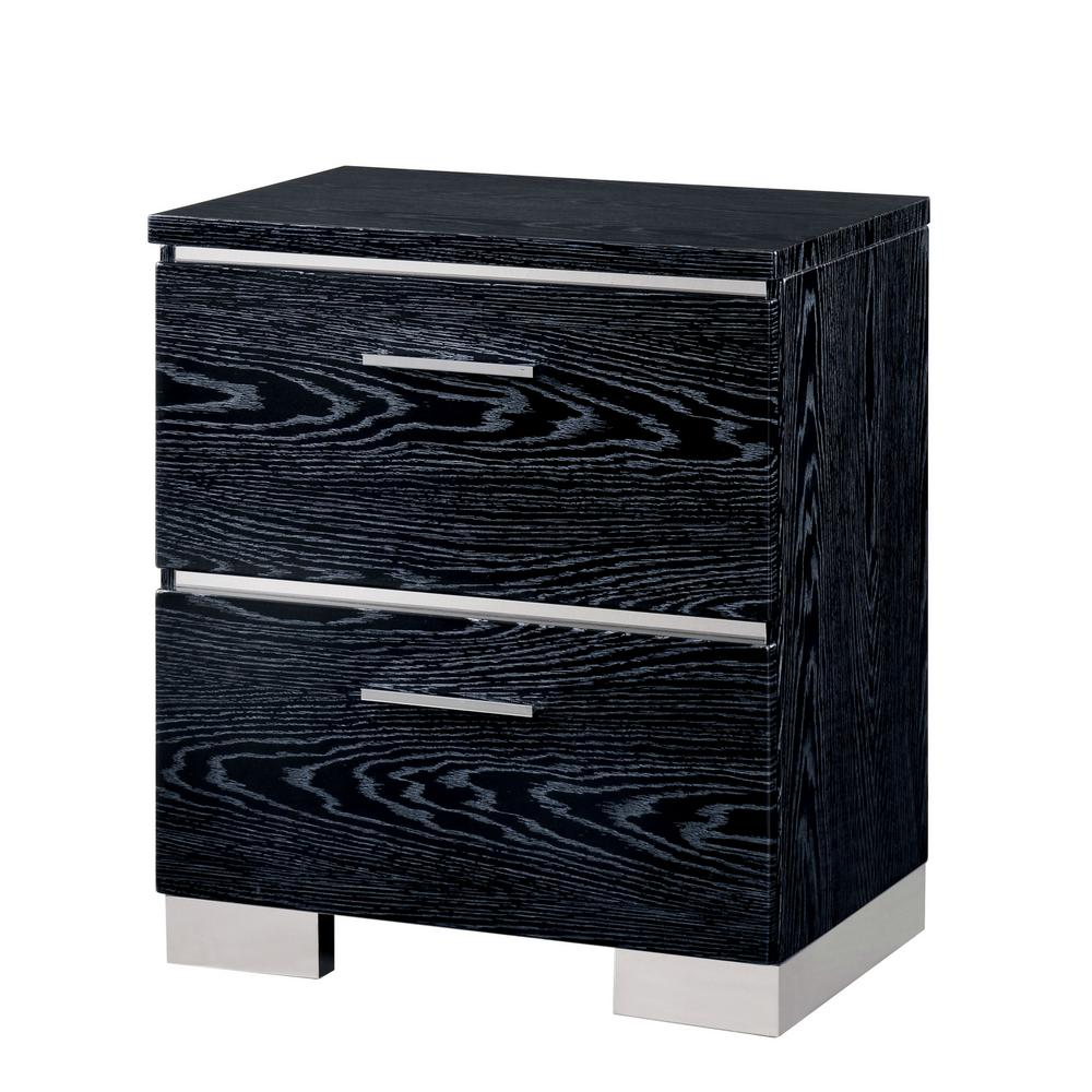Tigua 2-Drawer Glossy Black Nightstand