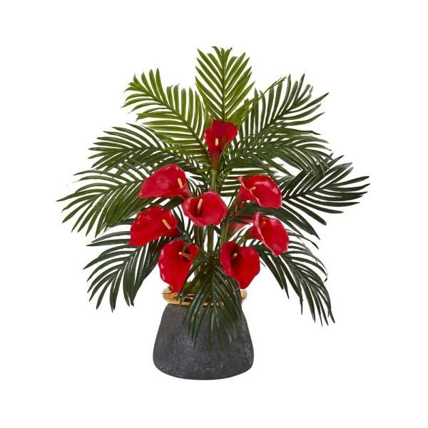 Nearly Natural 25 in. Calla Lilly and Areca Palm Artificial Arrangement