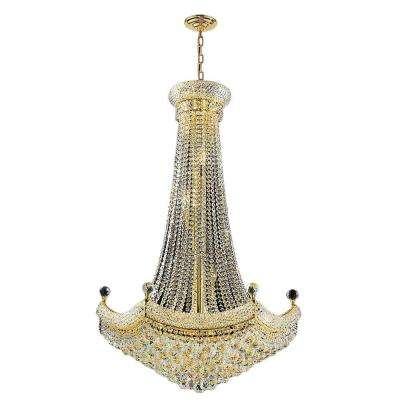 Empire Collection 18-Light Crystal and Gold Chandelier