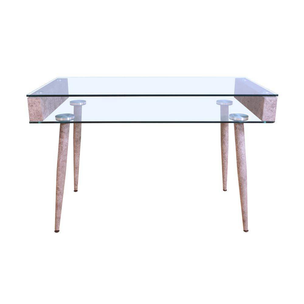 ACME Boyd Gray and Clear Glass Top Console Table, Clear G...
