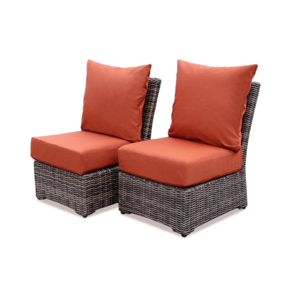AE Outdoor Cherry Hill Wicker Outdoor Lounge Chair with Canvas Brick Cushion (2-Pack)