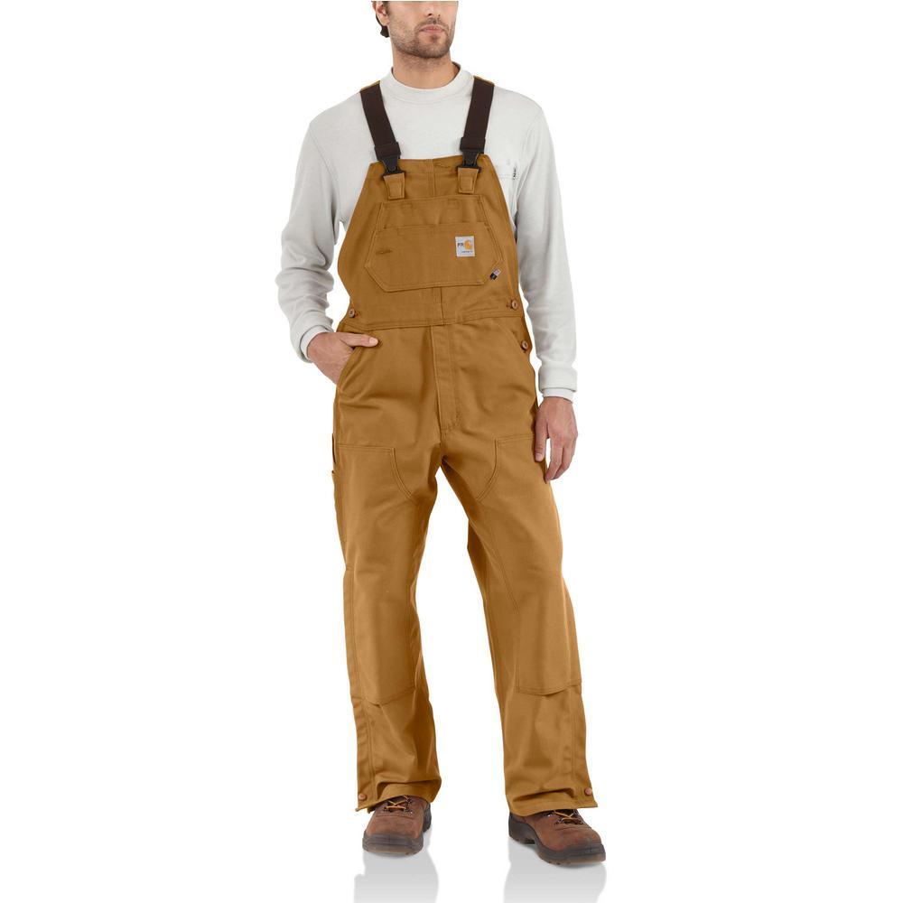 buying now best sale beauty Carhartt Men's 36 in. x 36 in. Brown Cotton FR Duck Bib Overall