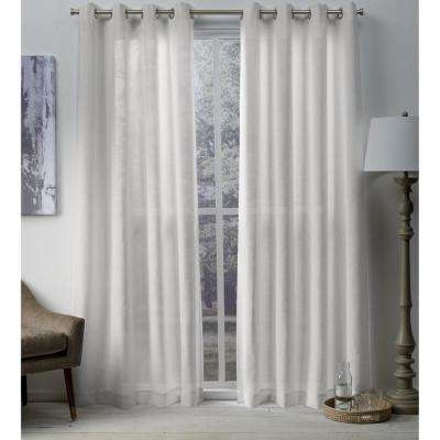 Sparkles Winter White Heavyweight Metallic Fleck Textured Linen Grommet Top Window Curtain