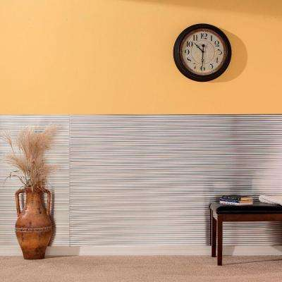 96 in. x 48 in. Rib Decorative Wall Panel in Brushed Aluminum