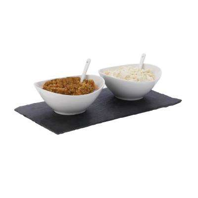 5-Piece Rectangular White Basics Slate Dipping Set