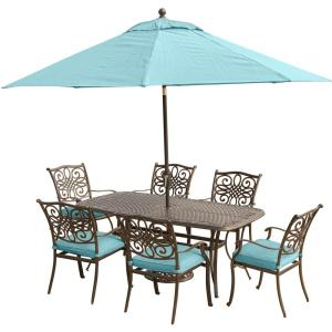 Hanover Traditions 7-Piece Aluminum Outdoor Dining Set with Rectangular Cast-Top Table,... by Hanover