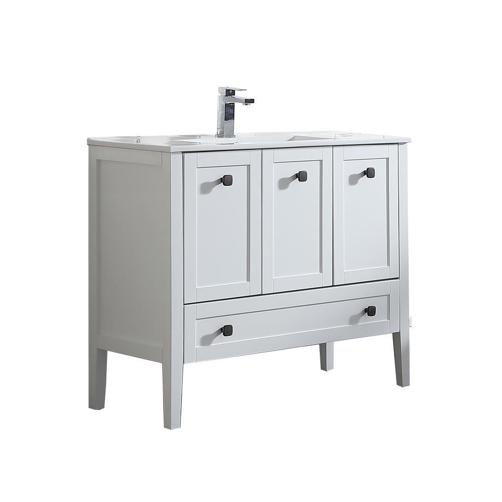 ove decors andora 40 in w x 18 in d vanity in matte white - 40 Inch Bathroom Vanity