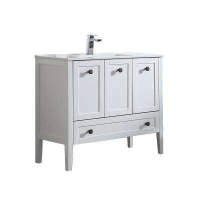 Andora 40 in. W x 18 in. D Vanity in Matte White with Ceramic Vanity Top in White with White Basin