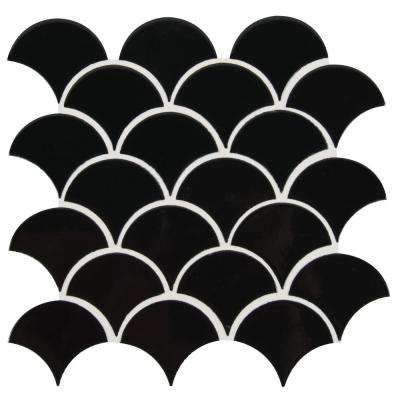 Retro Nero Scallop 13.11 in. x 9.96 in. x 8mm Glossy Porcelain Mesh-Mounted Mosaic Tile (9.1 sq. ft. / case)