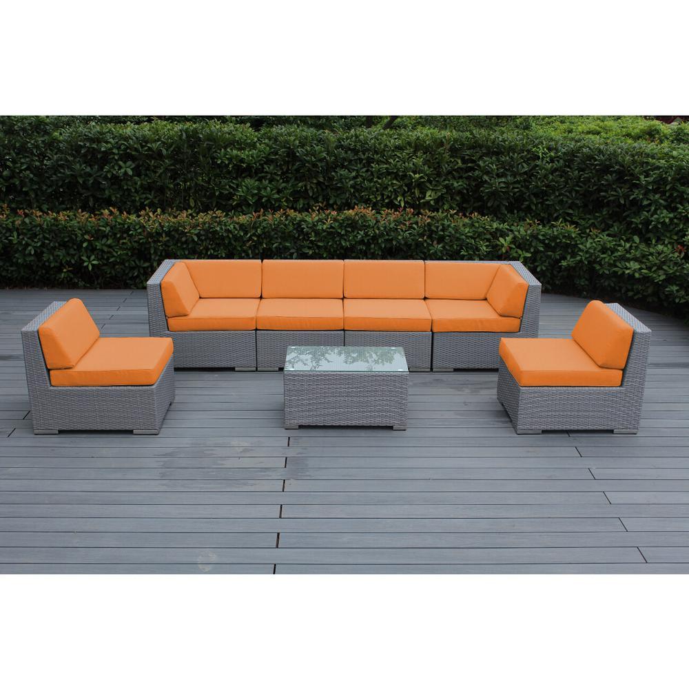 Ohana Gray 7 Piece Wicker Patio Seating Set With Spuncrylic Orange Cushions