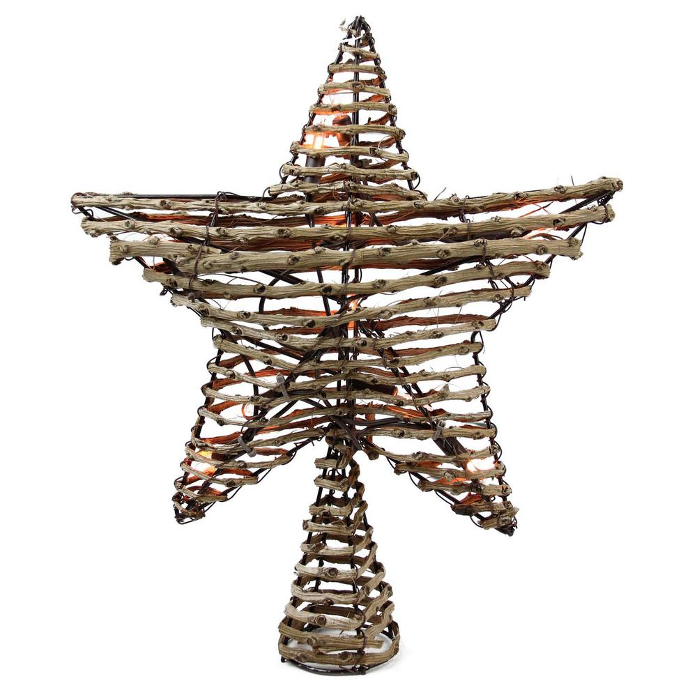 Northlight 11 5 In Natural Brown Rattan Star Christmas Tree Topper Clear Lights