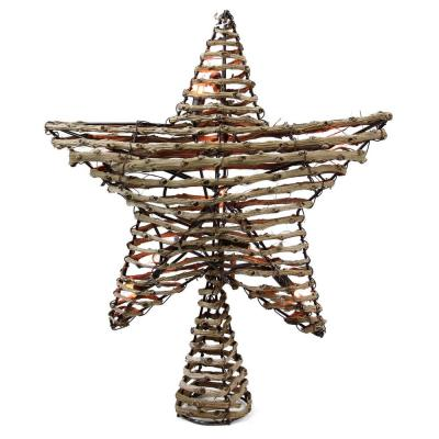 11.5 in. Natural Brown Rattan Star Christmas Tree Topper - Clear Lights