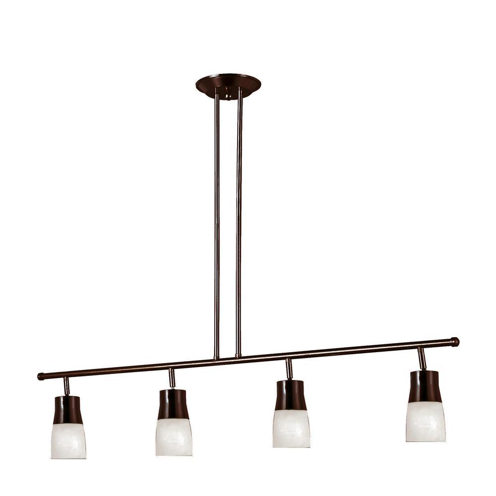 Bel Air Lighting Sliva 3.75 ft. 4-Light Rubbed Oil Bronze Track Lighting Kit with Opal Glass Shades