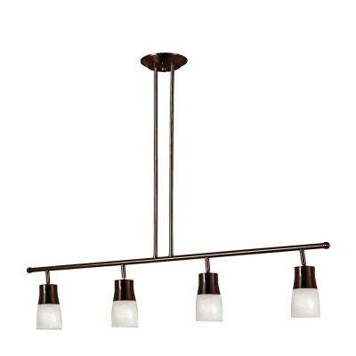 Sliva 3.75 ft. 4-Light Rubbed Oil Bronze Track Lighting Kit with Opal Glass Shades