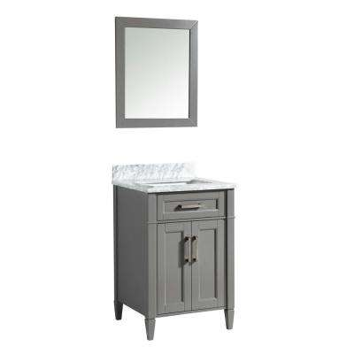 Savon 24 in. W x 22 in. D x 36 in. H Bath Vanity in Grey with Vanity Top in White with White Basin and Mirror