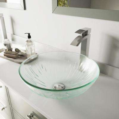 Glass Vessel Bathroom Sink in Clear Icicles and Duris Faucet Set in Brushed Nickel
