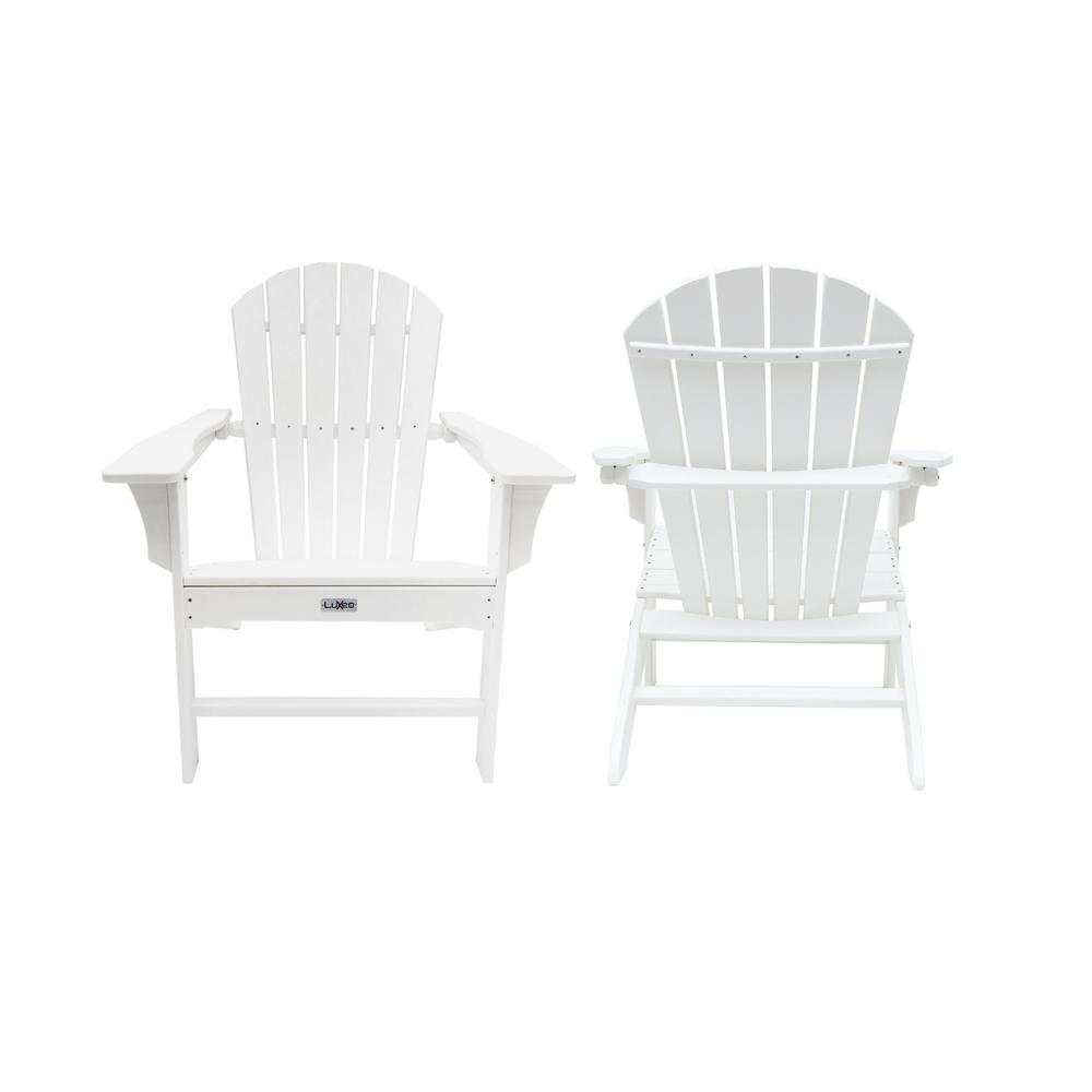 luxeo hampton white poly outdoor patio plastic adirondack chair 2 pack lux 1518 wht2 the. Black Bedroom Furniture Sets. Home Design Ideas