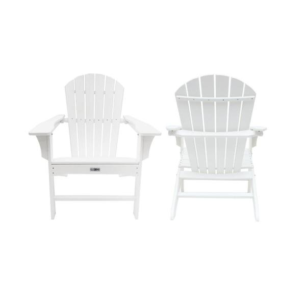 Hampton White Poly Outdoor Patio Plastic Adirondack Chair (2-Pack)