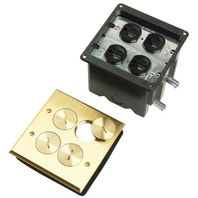 Pass & Seymour Slater Brass 2-Gang Floor Box with Tamper-Resistant Outlet and Cat5e Connectors for Wood Sub-Floor