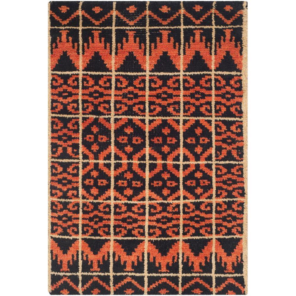 Safavieh Kenya Orange Black 2 Ft X 3 Ft Area Rug Kny609a