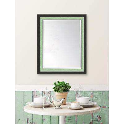 28 in. x 34 in. Framed Slate Black and Mint Mirror