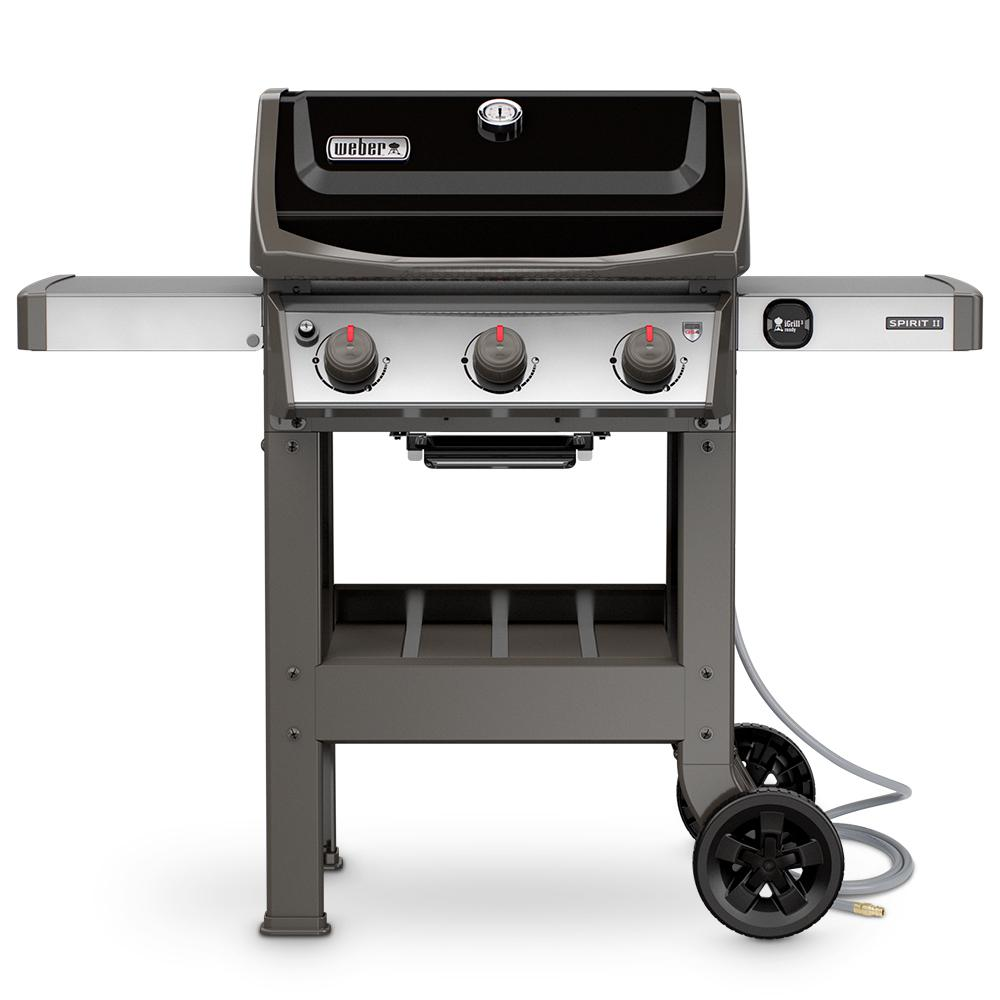 weber spirit ii e 310 3 burner natural gas grill in black 49010001 the home depot. Black Bedroom Furniture Sets. Home Design Ideas