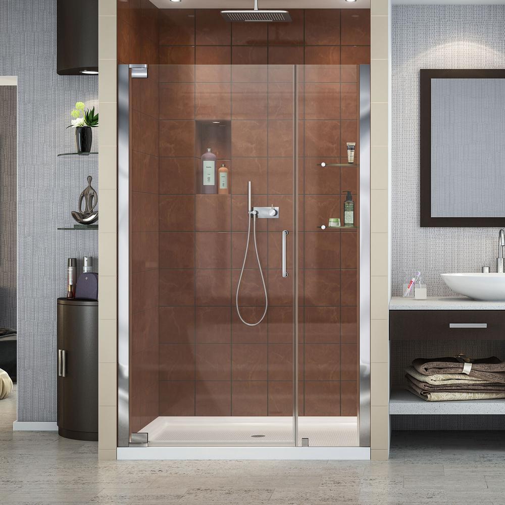 Elegance 46 in. to 48 in. x 72 in. Semi-Framed Pivot Shower Door in Chrome