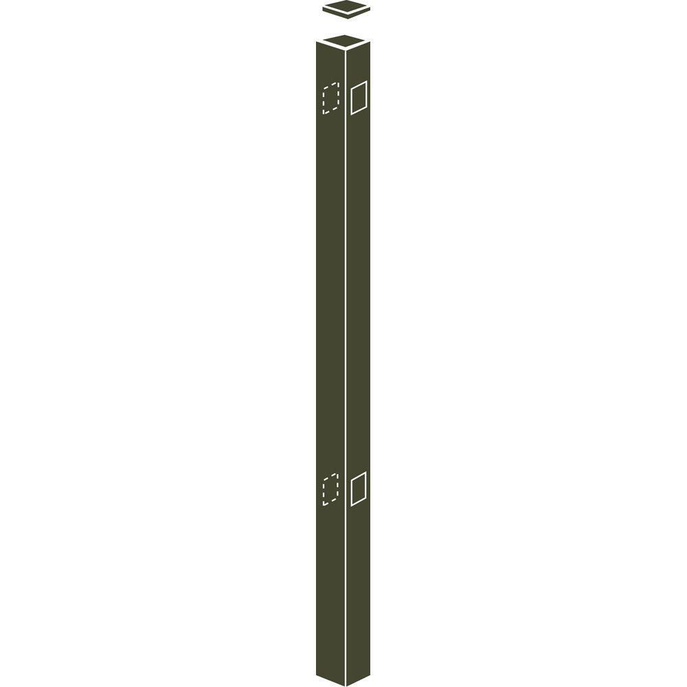 Allure Aluminum Metropolitan 2 in. x 2 in. x 70 in. Bronze Aluminum Fence Line Post