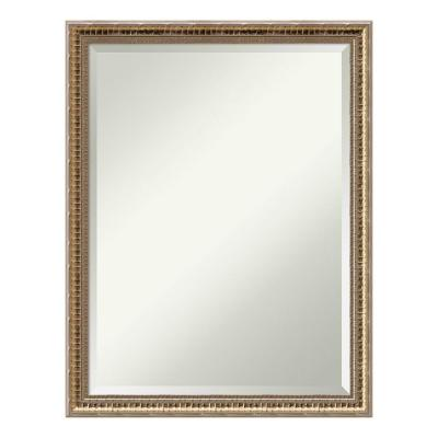 21 in. x 27 in. Fluted Champagne Wood Traditional Bathroom Vanity Mirror