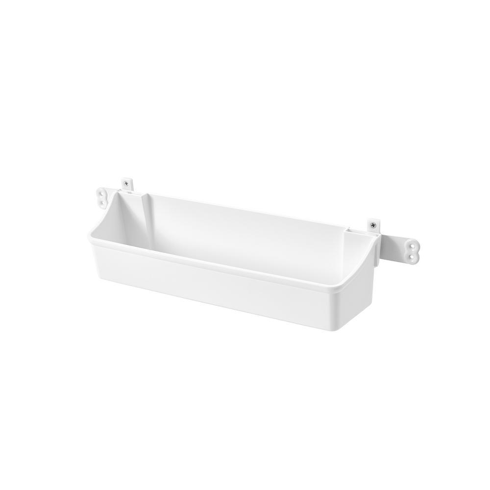Rev-A-Shelf 3.56 in. H x 19.75 in. W x 4.25 in. D White Cabinet Door Mount 2-Shelf Storage Bin