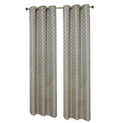 Semi-Opaque Grey Sonata Woven Lattice Jacquard 76 in. x 84 in. Grommet Curtain Panel Pair (2-Pack)