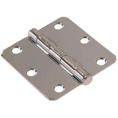 3 in. Chrome Residential Door Hinge with 1/4 in. Round Corner Removable Pin Full Mortise (9-Pack)