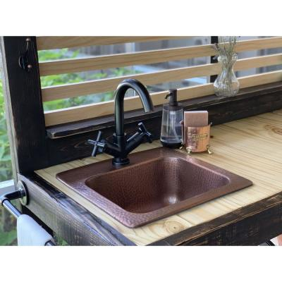 Seurat All-in-One Drop-In Copper 15 in. Single Bowl Copper Bar Sink with Pfister Bronze Faucet and Drain