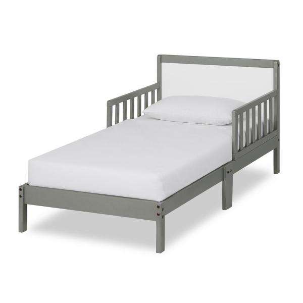 Dream On Me Brookside Steel Grey And White Toddler Adjule Bed