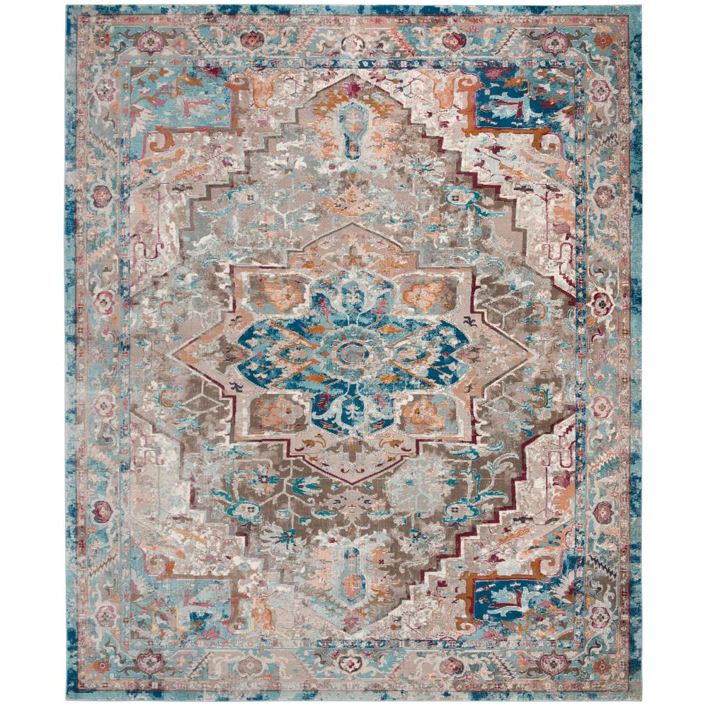 Aria Beige Blue 9 Ft X 12 Area Rug