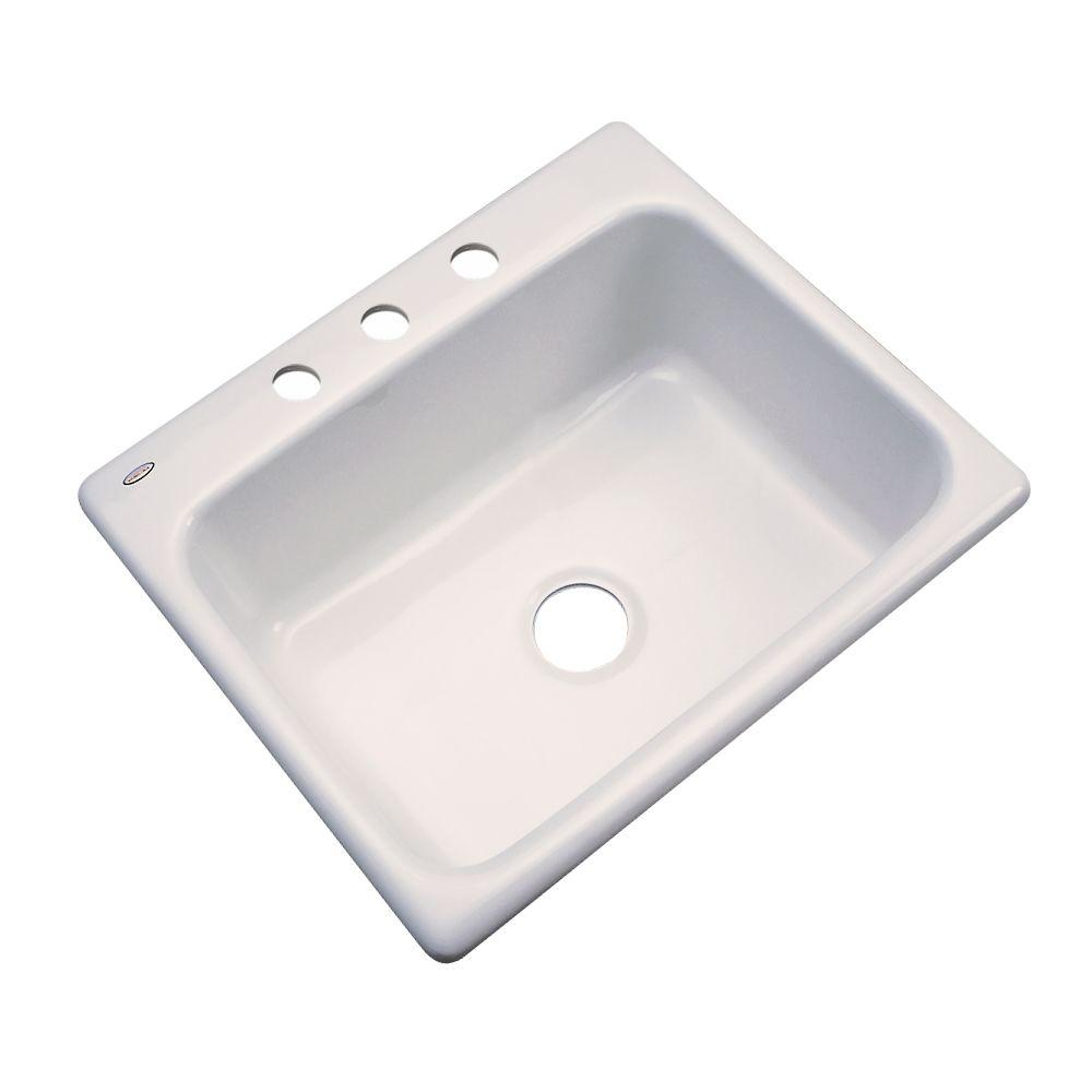 Inverness Drop-In Acrylic 25 in. 3-Hole Single Bowl Kitchen Sink in