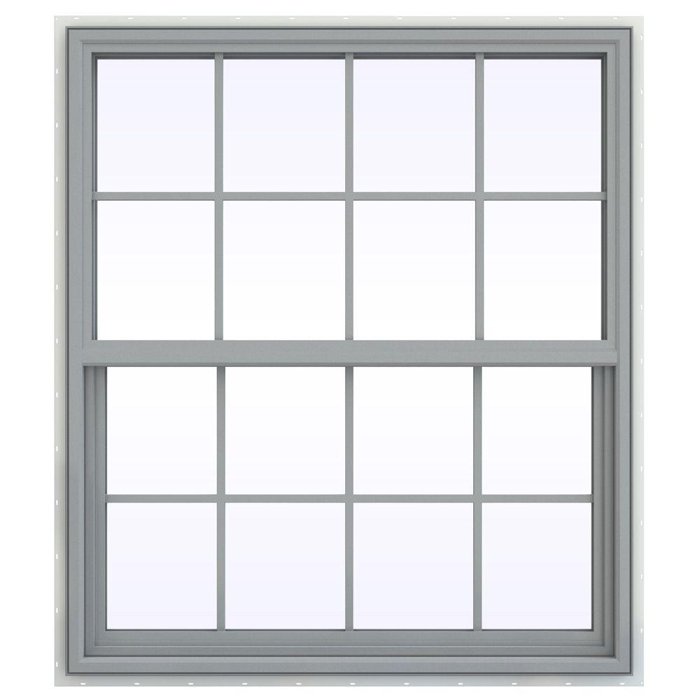 JELD-WEN 41.5 in. x 47.5 in. V-4500 Series Single Hung Vinyl Window with Grids - Gray