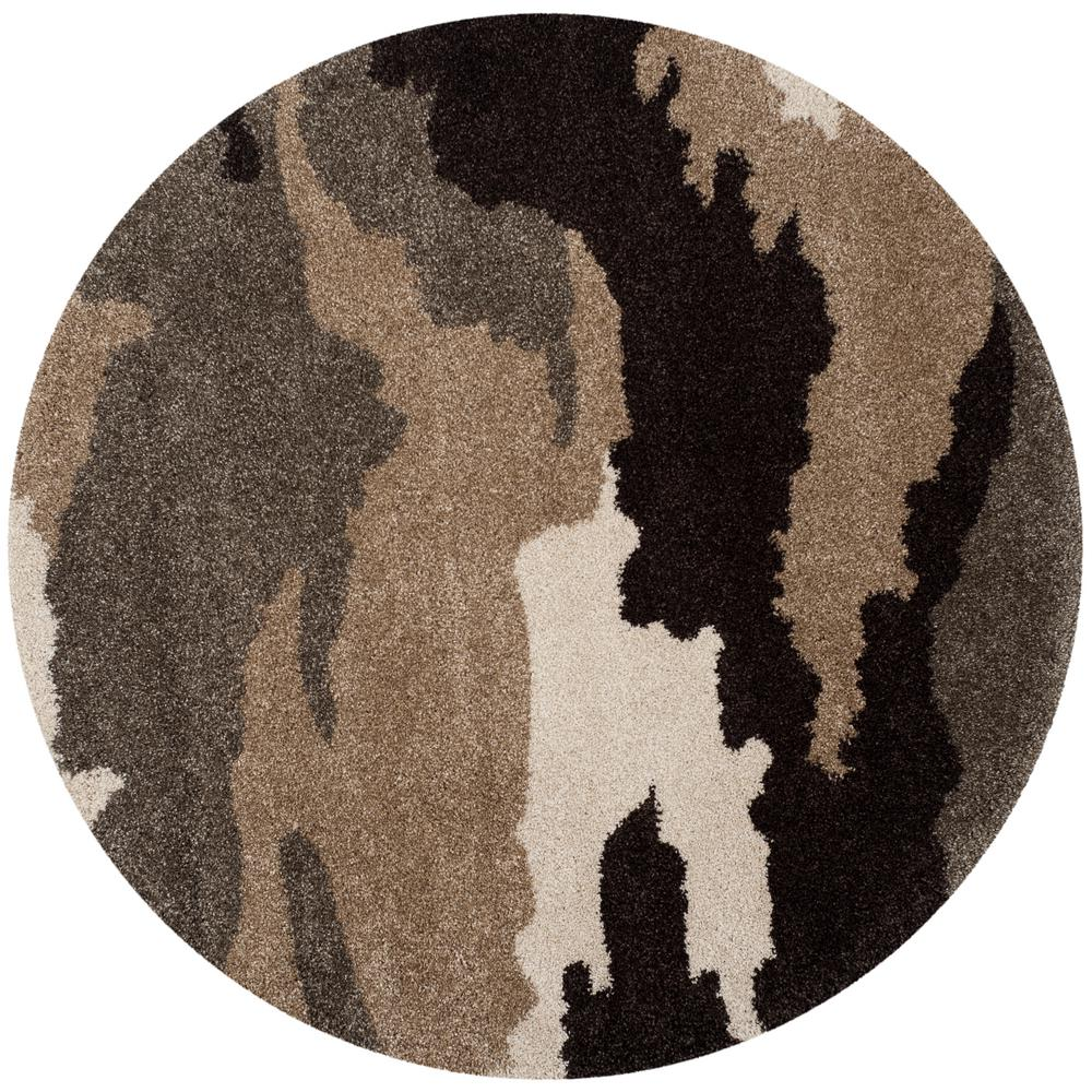 Florida Shag Beige/Multi 4 Ft. X 4 Ft. Round Area Rug