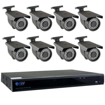 8-Channel HD-Coaxial 5MP System Bundle with 8 Bullet 3.3 - 12 mm Manual Varifocal Lens and 2TB HDD