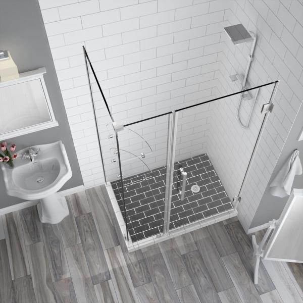 Aston Bromley Gs 35 25 To 36 25 X 32 375 X 72 In Frameless Corner Hinged Shower Enclosure W Glass Shelves In Stainless Steel Sen962ez Ss 362232 10 The Home Depot