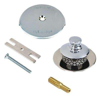 Universal NuFit Push Pull Bathtub Stopper with Grid Strainer, One Hole Overflow and Combo Pin Kit in Chrome Plated
