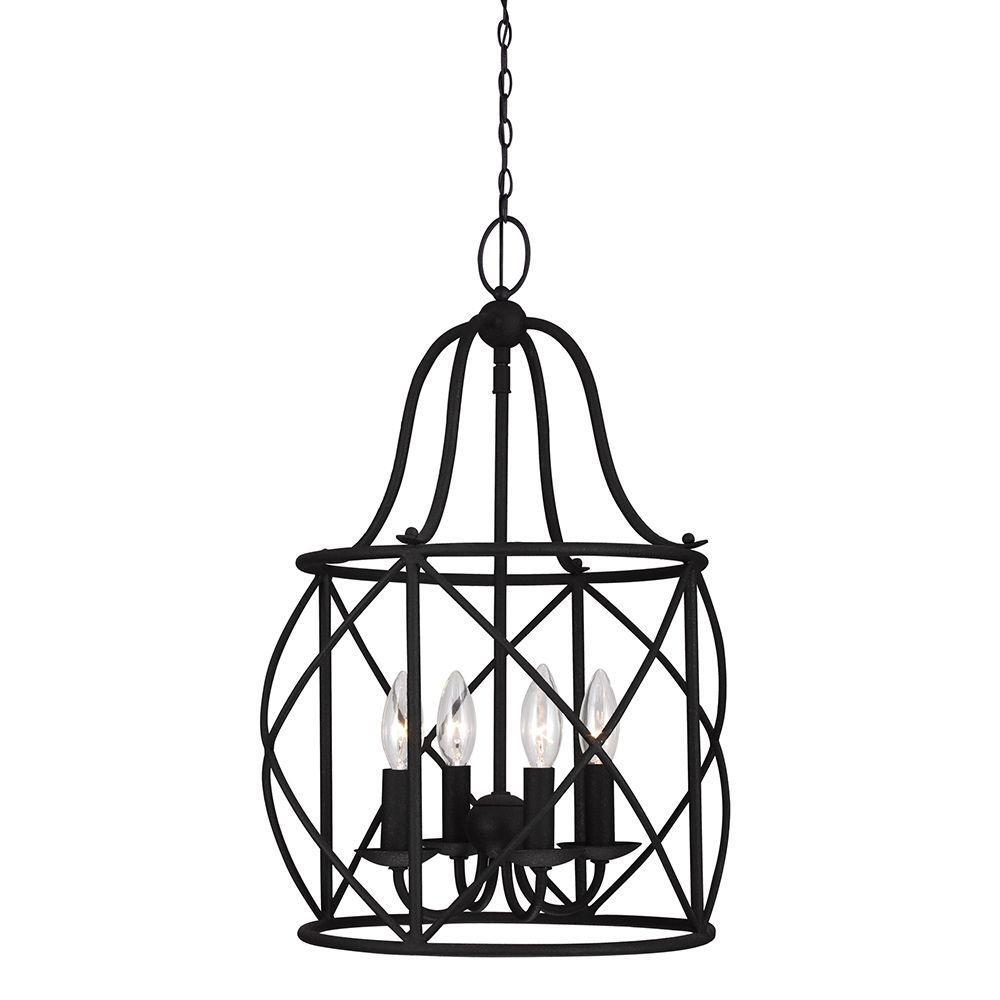 Sea Gull Lighting Turbinio 15 in. W x 21.5 in. H 4-Light Textured Black Hall/Foyer Small Rustic Cage Metal Indoor Pendant