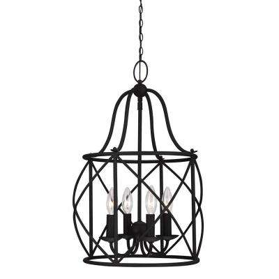 Turbinio 15 in. W x 21.5 in. H 4-Light Textured Black Hall/Foyer Small Rustic Cage Metal Indoor Pendant